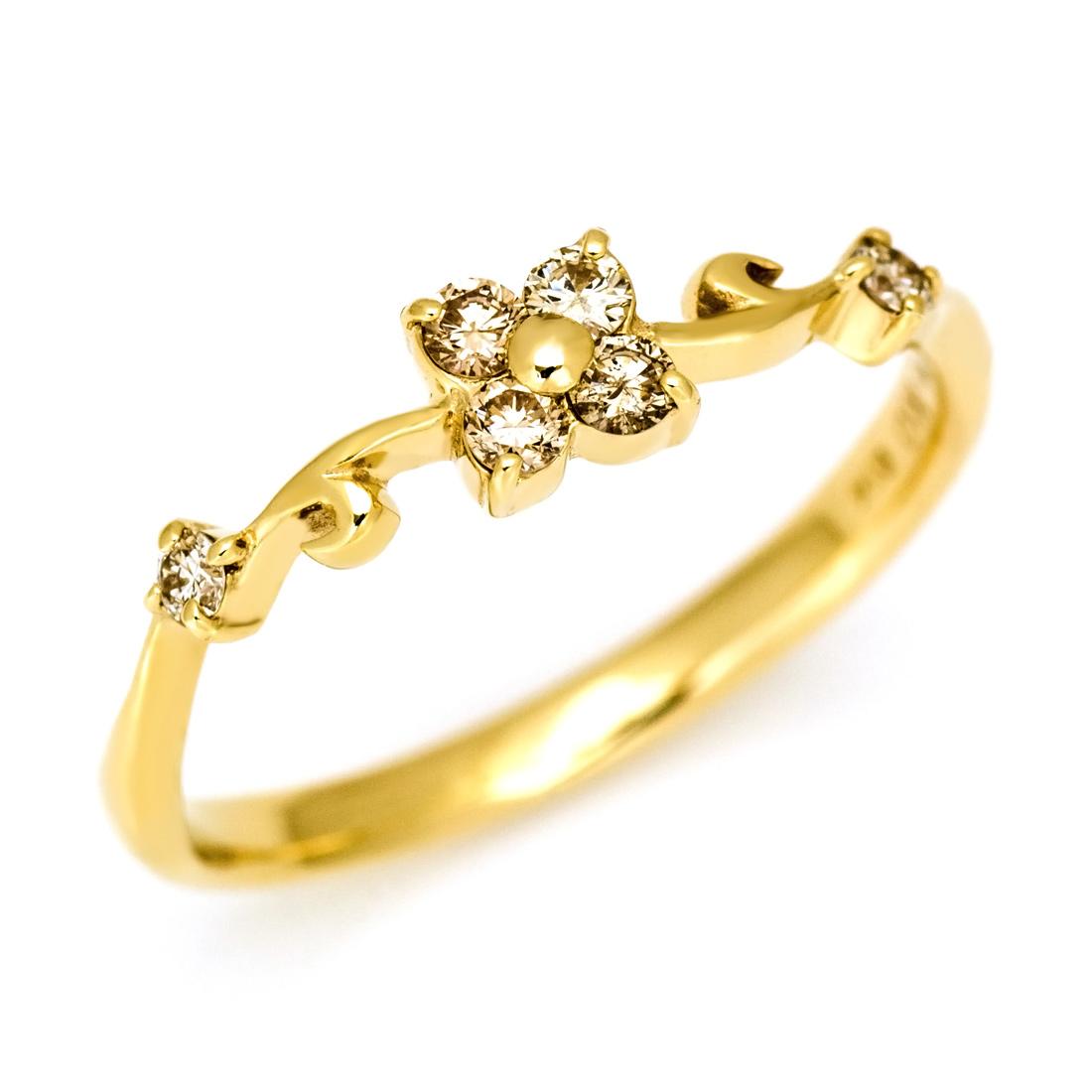 【GWクーポン配布中】リング ブラウンダイヤモンド ダイヤモンド ゴールド K10 フラワーモチーフ 送料無料