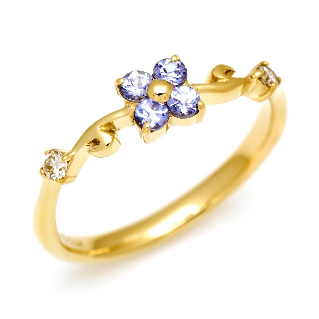 リング タンザナイト ダイヤモンド ゴールド K10 フラワーモチーフ