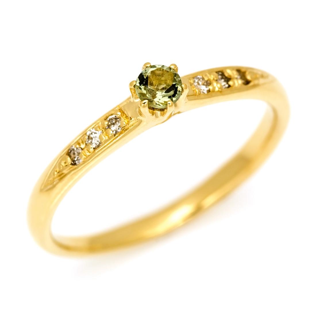 リング モルダバイト ダイヤモンド ゴールド K18