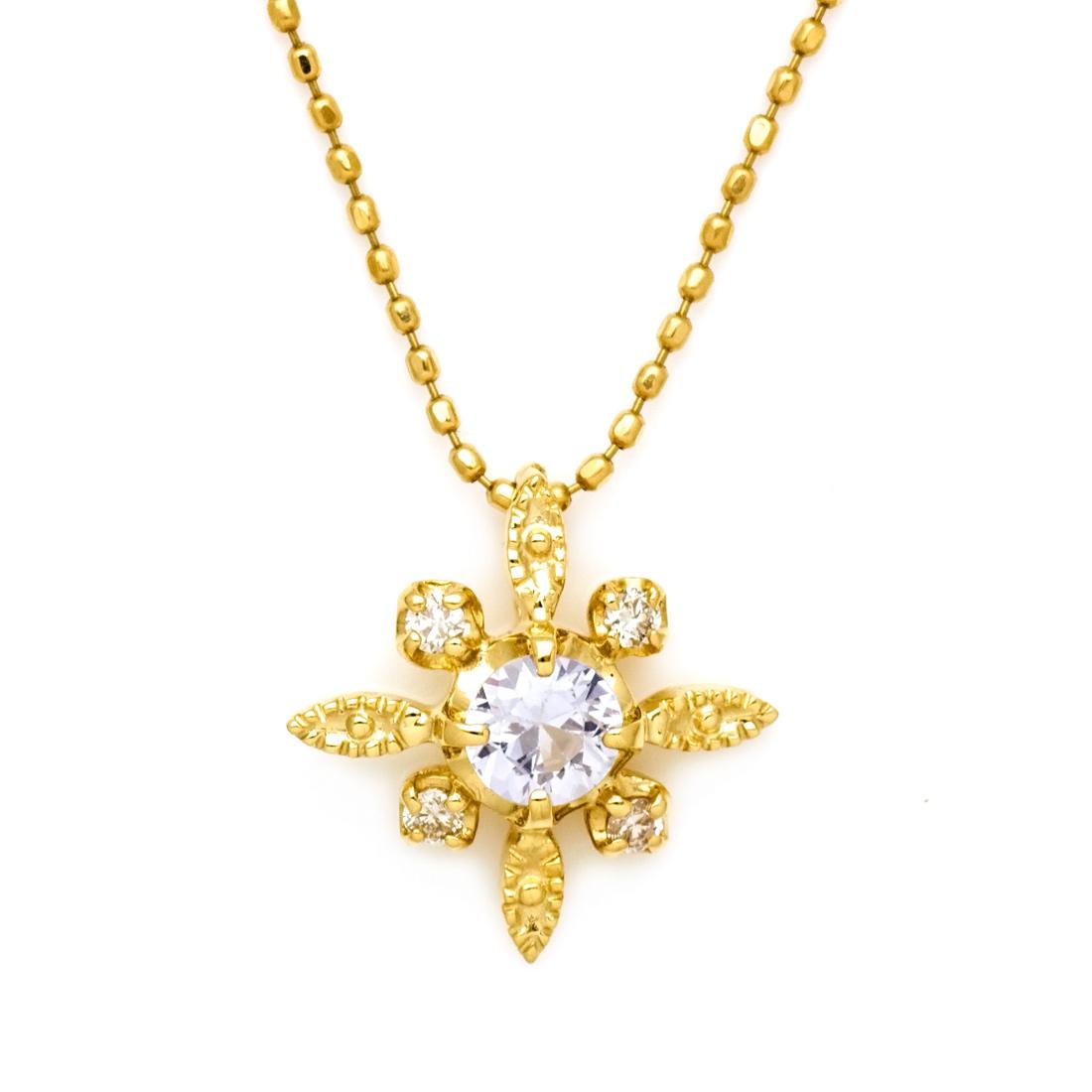 【GWクーポン配布中】ペンダントトップ ホワイトサファイア ダイヤモンド ゴールド K18