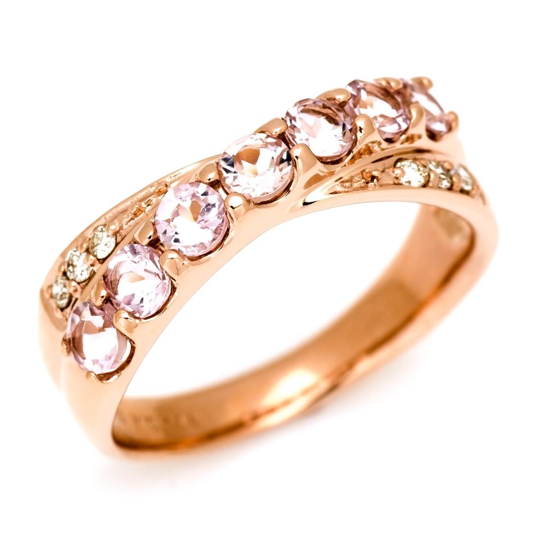 リング モルガナイト ダイヤモンド ゴールド K10