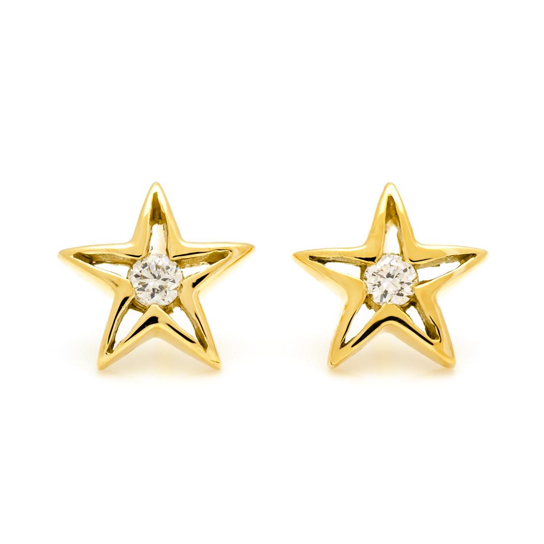 【GWクーポン配布中】スタッドピアス ダイヤモンド ゴールド K18 スターモチーフ 送料無料