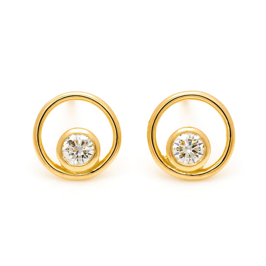 【GWクーポン配布中】スタッドピアス ダイヤモンド 0.13ct 「circle」 ゴールド K18 送料無料