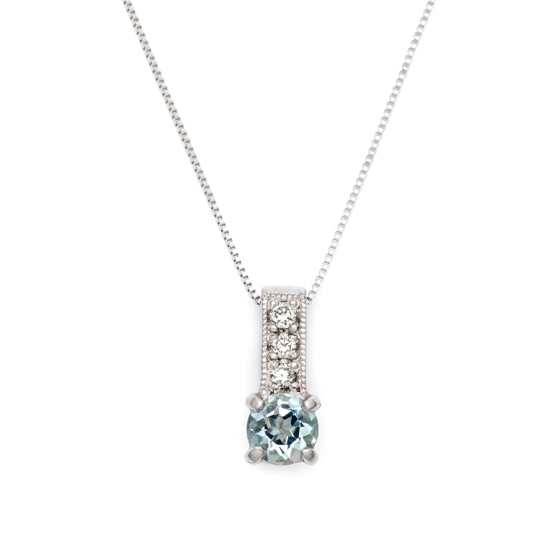 ペンダント アクアマリン ダイヤモンド 「fiorito」 ゴールド K18 ベネチアンチェーン
