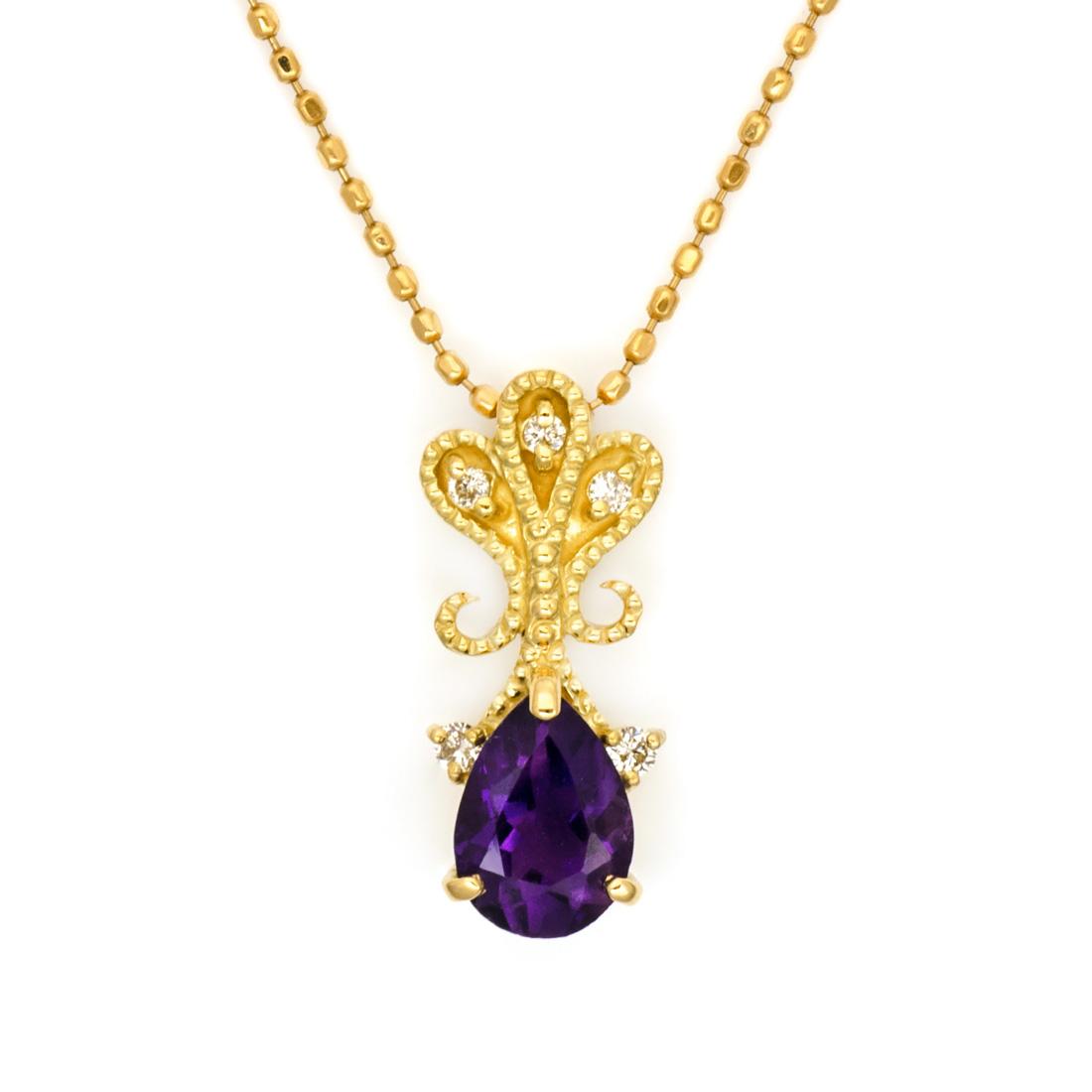 ペンダントトップ アメシスト ダイヤモンド 「lacrima」 ゴールド K18