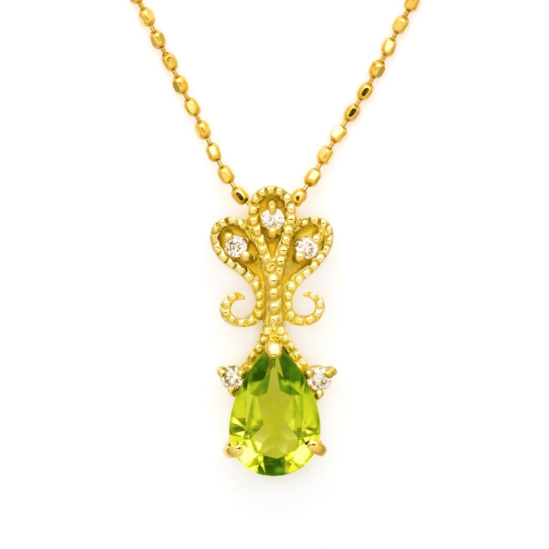 ペンダントトップ ペリドット ダイヤモンド 「lacrima」 ゴールド K18