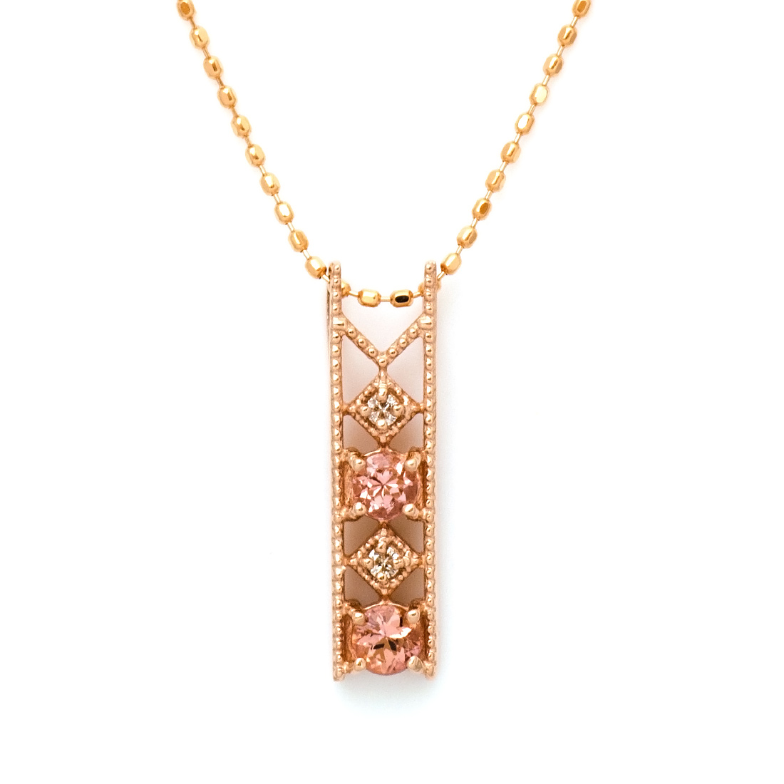 【GWクーポン配布中】K18 シャンパンガーネット ダイヤモンド ペンダントトップ 「blonda」ネックレス 送料無料 18K 18金 ゴールド ダイアモンド ミル打ち 誕生日 1月誕生石 記念日 メッセージ ギフト 贈り物