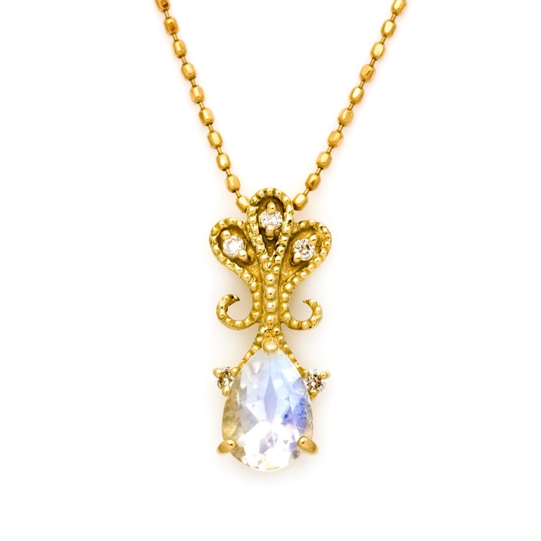 【GWクーポン配布中】ペンダントトップ ブルームーンストーン ダイヤモンド ゴールド K18 「lacrima」 送料無料
