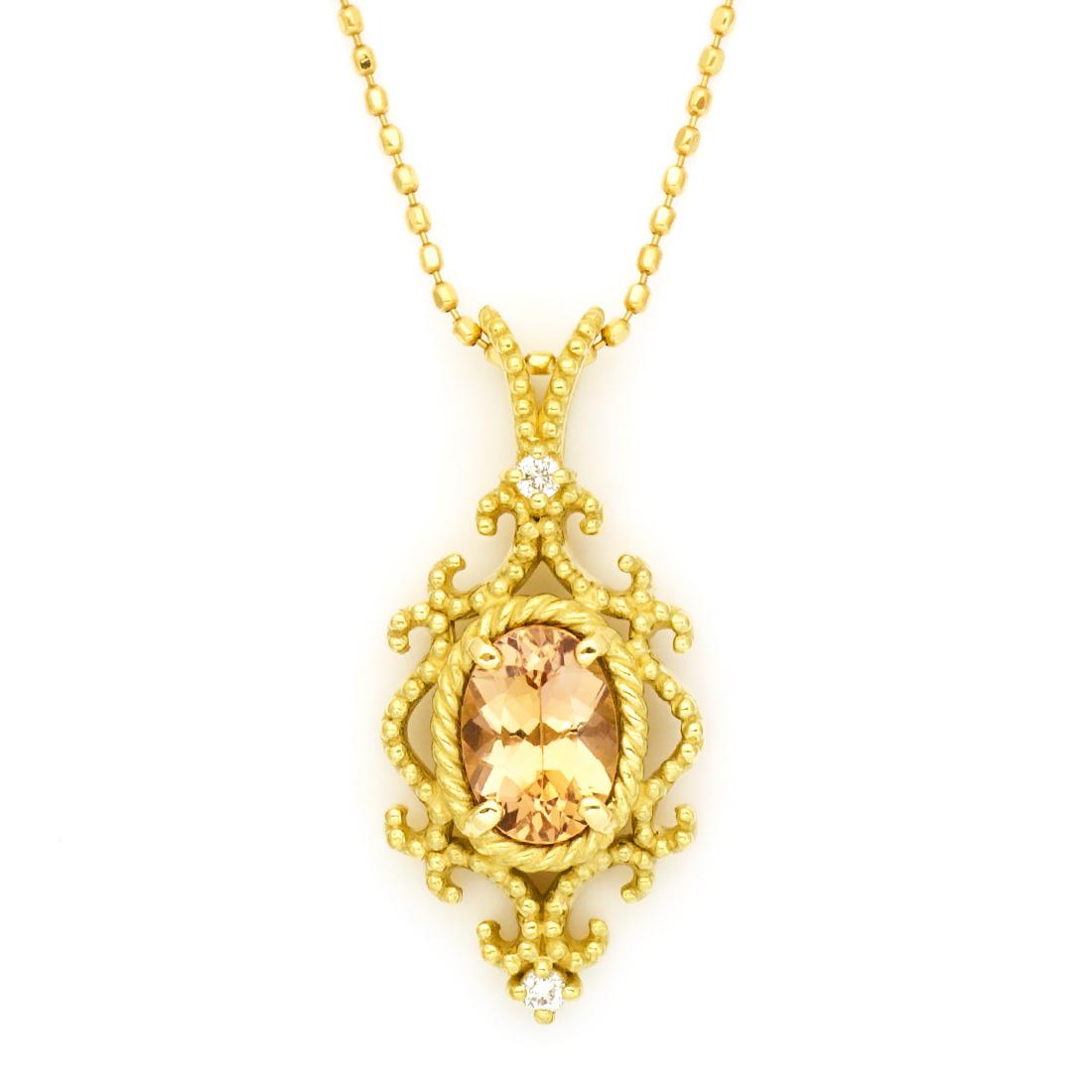 ペンダントトップ インペリアルトパーズ ダイヤモンド 「riflettere」 ゴールド K18