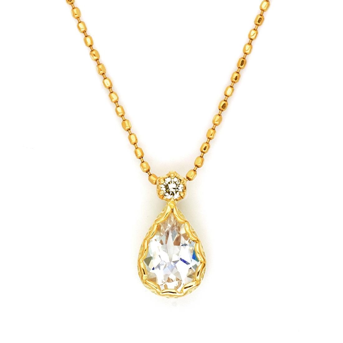 【GWクーポン配布中】ペンダントトップ ブルームーンストーン ダイヤモンド 「goccia」 ゴールド K18 送料無料