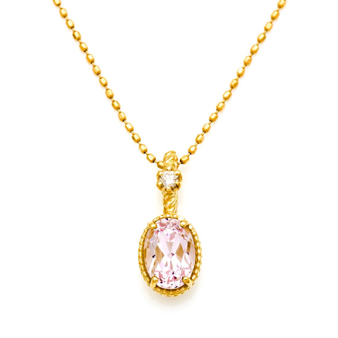 【GWクーポン配布中】K18 クンツァイト ダイヤモンド ペンダントトップ 「spaiato」送料無料 ネックレス ダイアモンド 18K 18金 ゴールド 記念日 メッセージ ギフト 贈り物