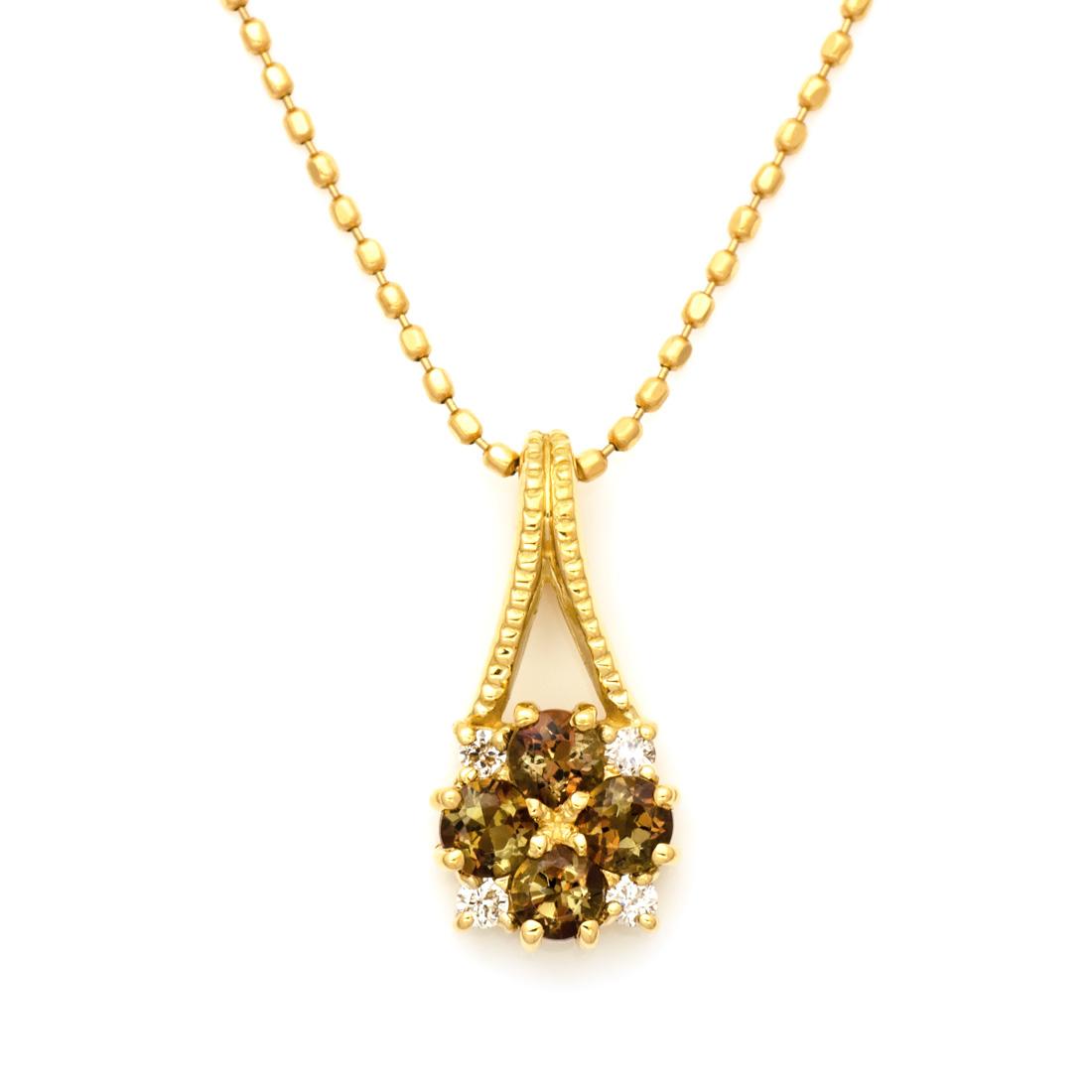 ペンダントトップ アンダルサイト ダイヤモンド 「bouquet」 ゴールド K18