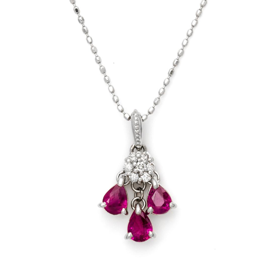 K18 ルビー ダイヤモンド ペンダントトップ 「lumiera」送料無料 ネックレス ダイアモンド 誕生日 7月誕生石 18K 18金 ゴールド 記念日 メッセージ ギフト 贈り物