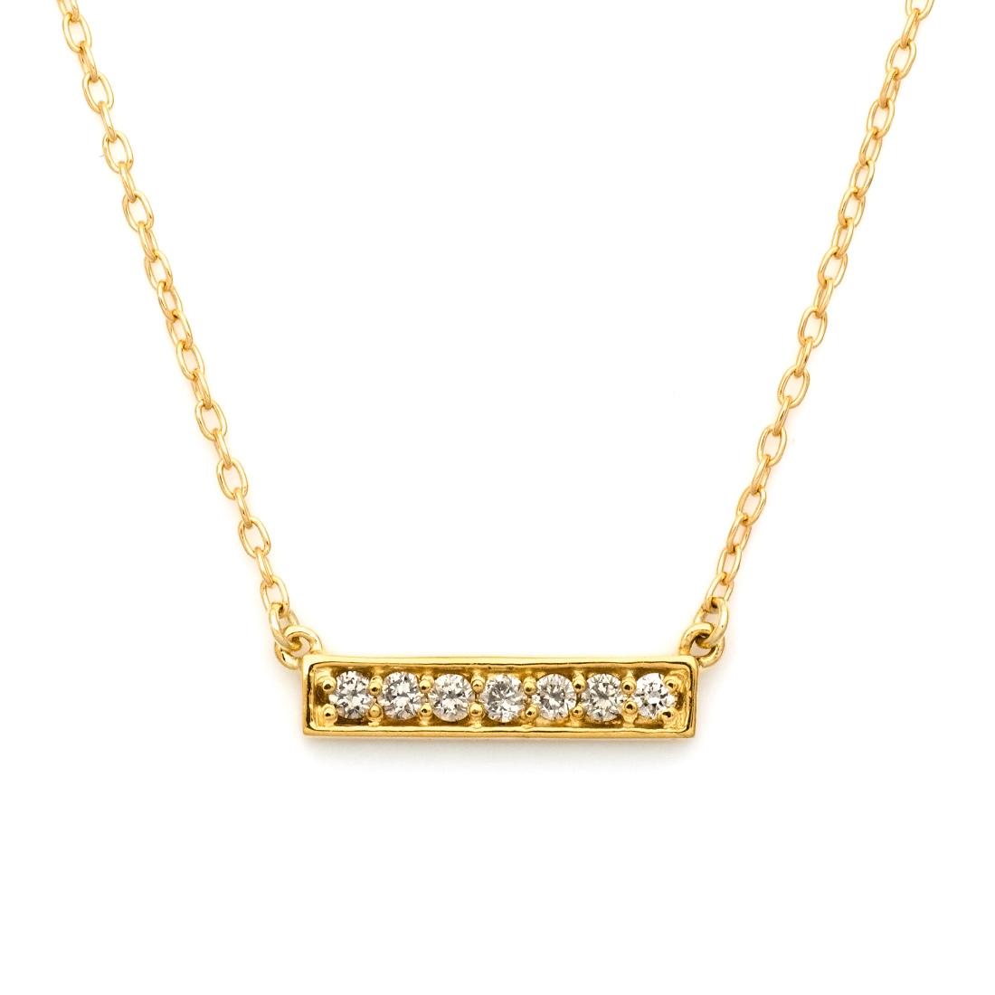 K18 バーモチーフ ダイヤモンド ネックレス 「certo」 ペンダント ダイアモンド 誕生日 4月誕生石 18K 18金 ゴールド アズキチェーン 記念日 メッセージ ギフト 贈り物
