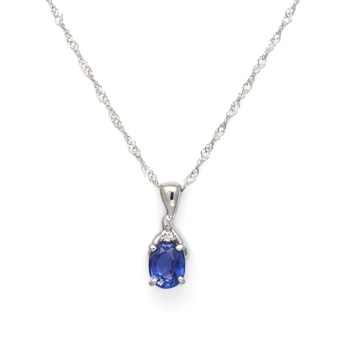 K18 ブルーサファイア ダイヤモンド ペンダント 「calzare」送料無料 ネックレス サファイヤ ダイアモンド スクリューチェーン 誕生日 9月誕生石 18K 18金 ゴールド ギフト 贈り物