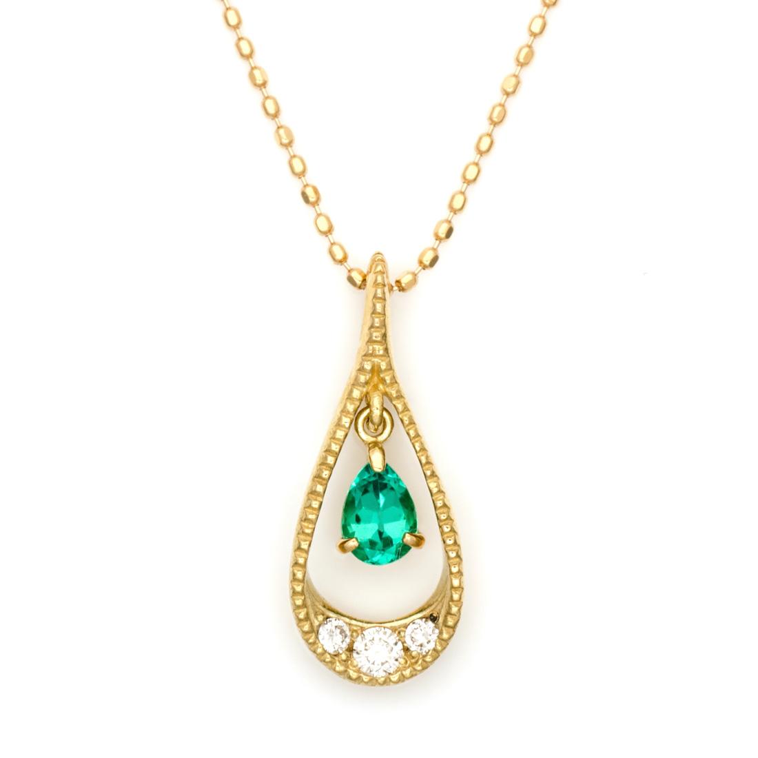 ペンダントトップ エメラルド ダイヤモンド 「versare」 ゴールド K18