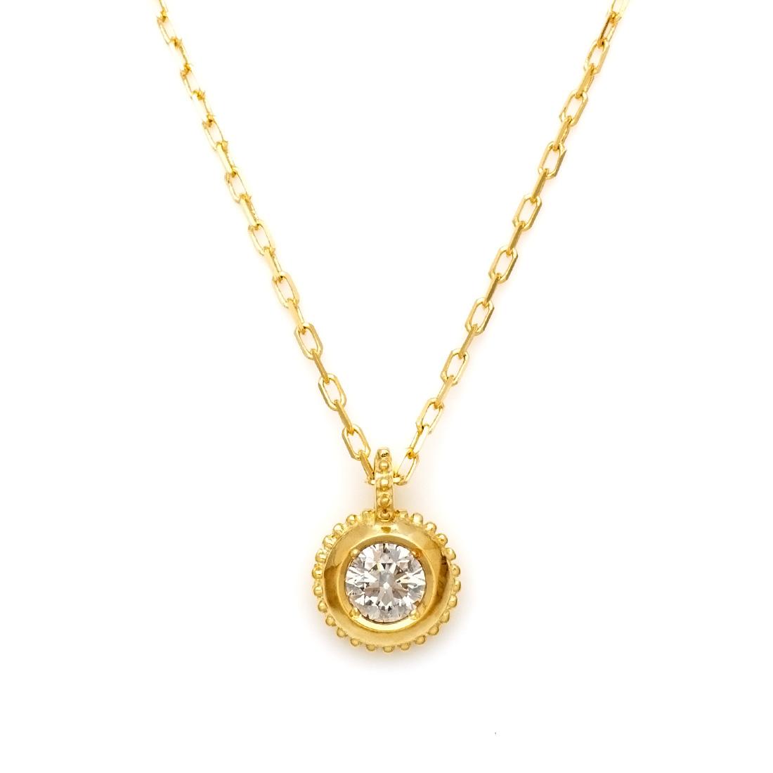 【GWクーポン配布中】ペンダント ダイヤモンド 0.1ct 「Rudder」 ゴールド K18 アズキチェーン 送料無料