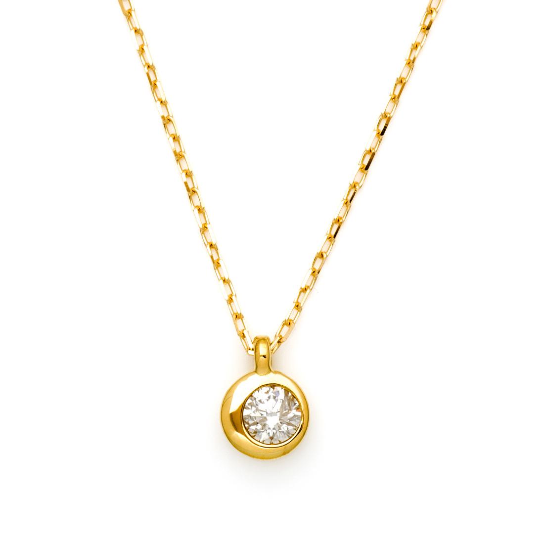【GWクーポン配布中】ペンダント ダイヤモンド 0.1ct 「Moon」 ゴールド K18 アズキチェーン 送料無料