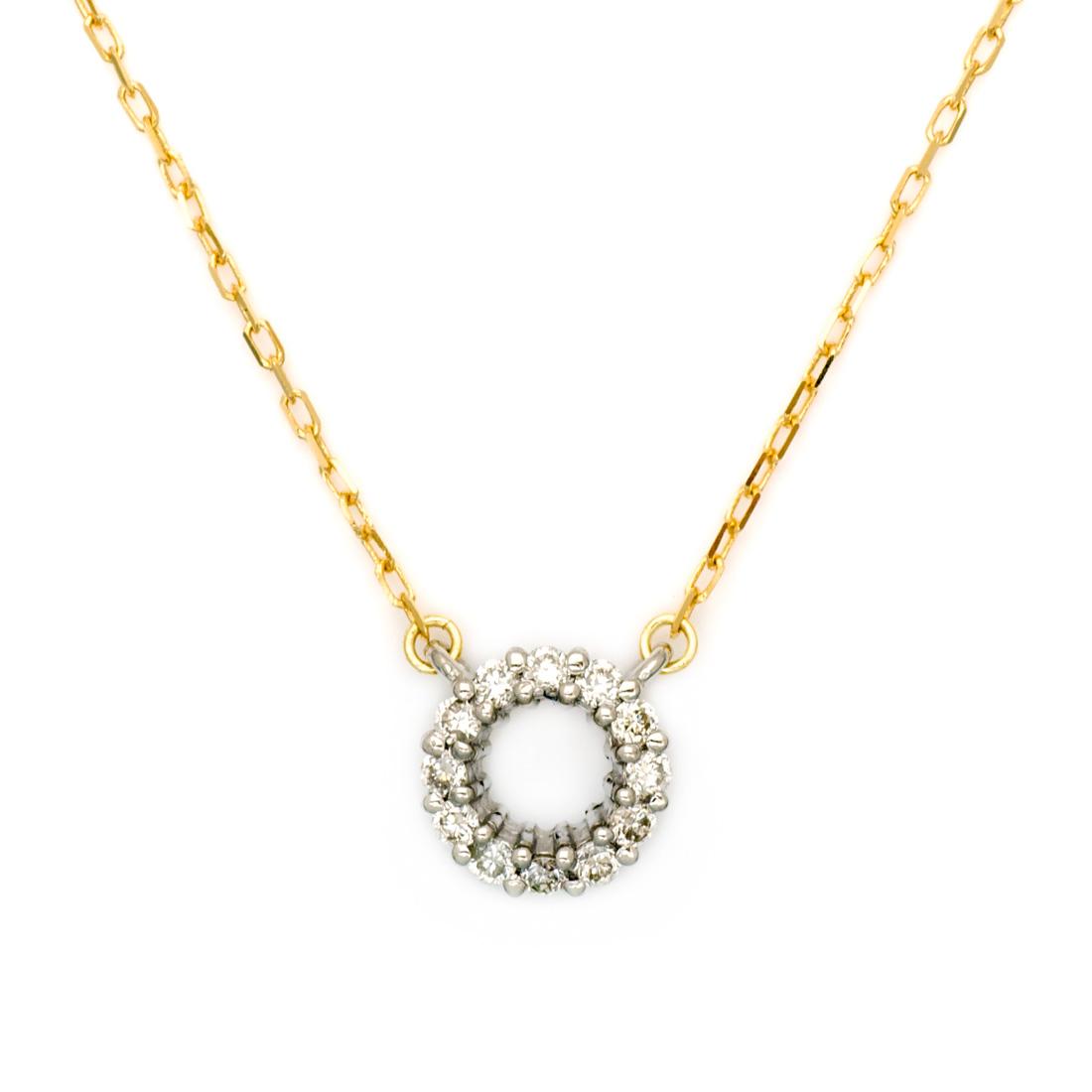 【GWクーポン配布中】ネックレス ダイヤモンド 「halo」 プラチナ900 ゴールド K18 コンビネーション アズキチェーン 送料無料