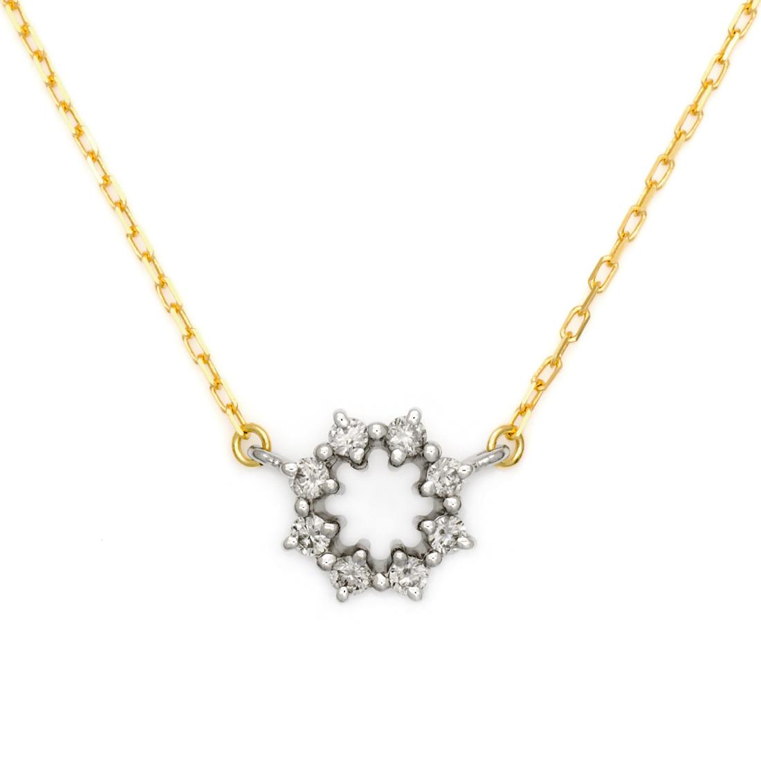 【GWクーポン配布中】ネックレス ダイヤモンド 「Crystal」 プラチナ900 ゴールド K18 コンビネーション アズキチェーン 送料無料