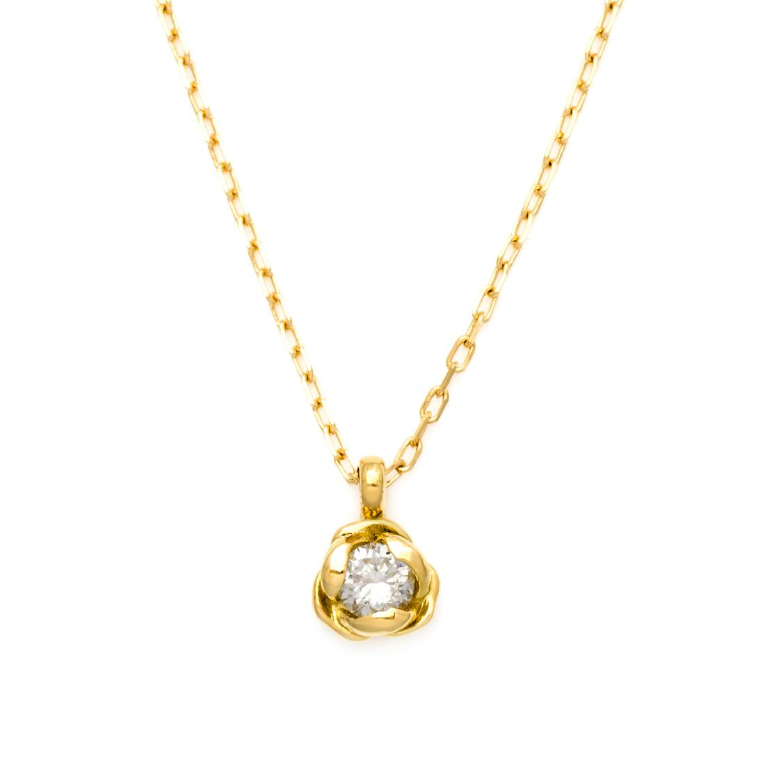 【GWクーポン配布中】【即日発送可能】【1点限り】ペンダント ダイヤモンド 0.1ct 「Rosa」 ゴールド K18 アズキチェーン 送料無料