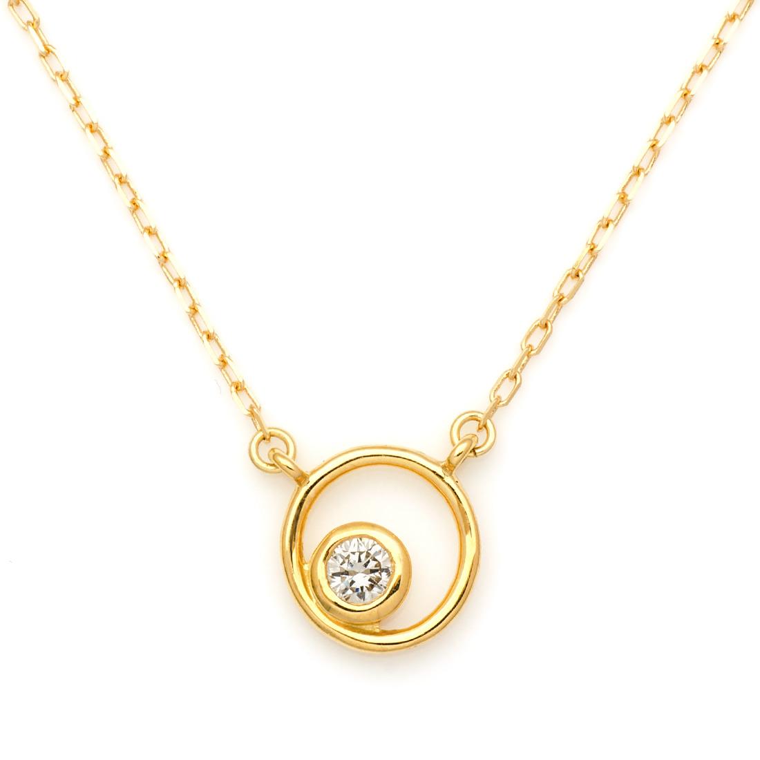 【GWクーポン配布中】ネックレス ダイヤモンド 0.07ct 「Circle」 ゴールド K18 アズキチェーン 送料無料