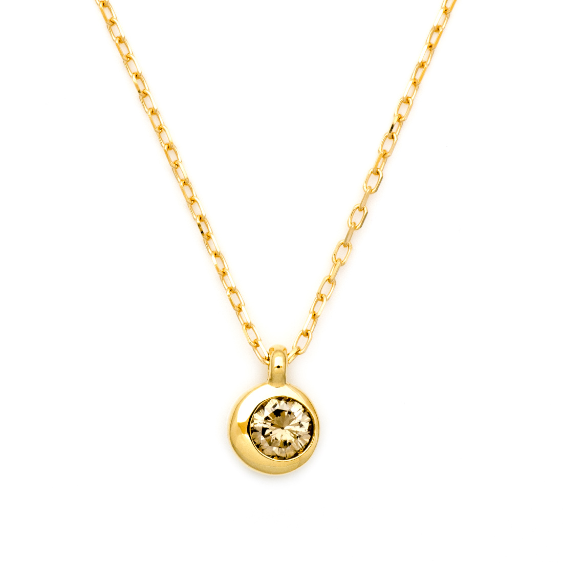 【GWクーポン配布中】ペンダント ブラウンダイヤモンド 0.1ct ゴールド K18 「Moon」 アズキチェーン 送料無料