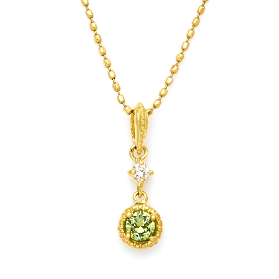 【新作お試し価格】ペンダントトップ デマントイドガーネット ダイヤモンド ゴールド K18 「cangiare」