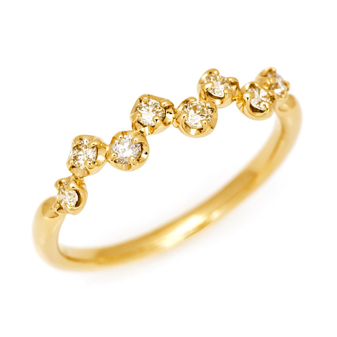 【GWクーポン配布中】K18 ダイヤモンドリング 「stellato」送料無料 指輪 ダイアモンド ゴールド 18K 18金 誕生日 4月誕生石 刻印 文字入れ メッセージ ギフト 贈り物 ピンキーリング対応可能