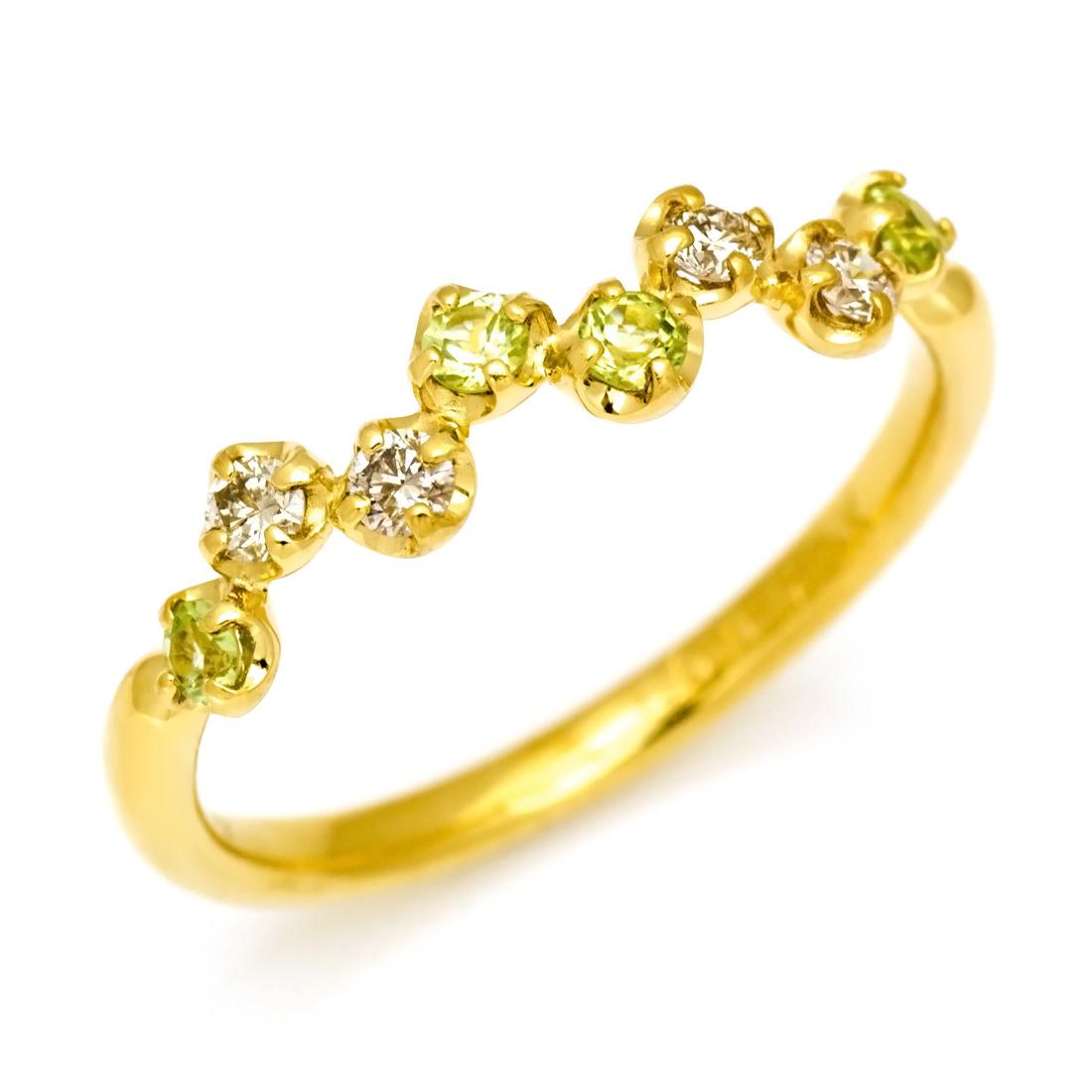 【GWクーポン配布中】K18 ダイヤモンド ペリドットリング 「stellato」送料無料 指輪 ダイアモンド ゴールド 18K 18金 誕生日 8月誕生石 刻印 文字入れ メッセージ ギフト 贈り物 ピンキーリング対応可能