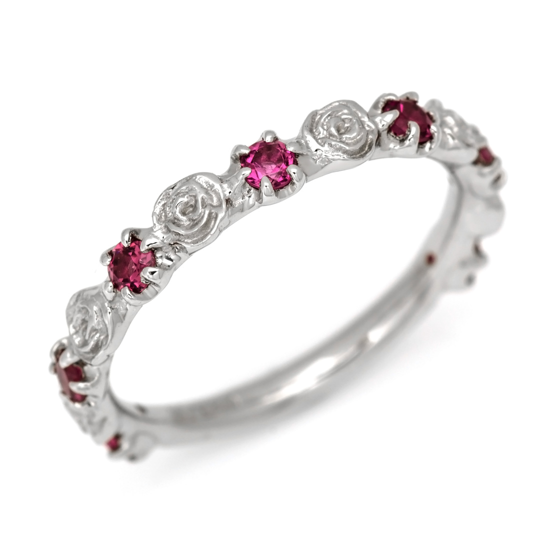 K18 ルベライト バラモチーフ リング 「rosa」 18K 18金 ゴールド ピンクトルマリン 誕生日 10月誕生石 薔薇 ローズ 重ね着け 結婚記念日 結婚式 誕生日 刻印 文字入れ ギフト ピンキーリング対応可能