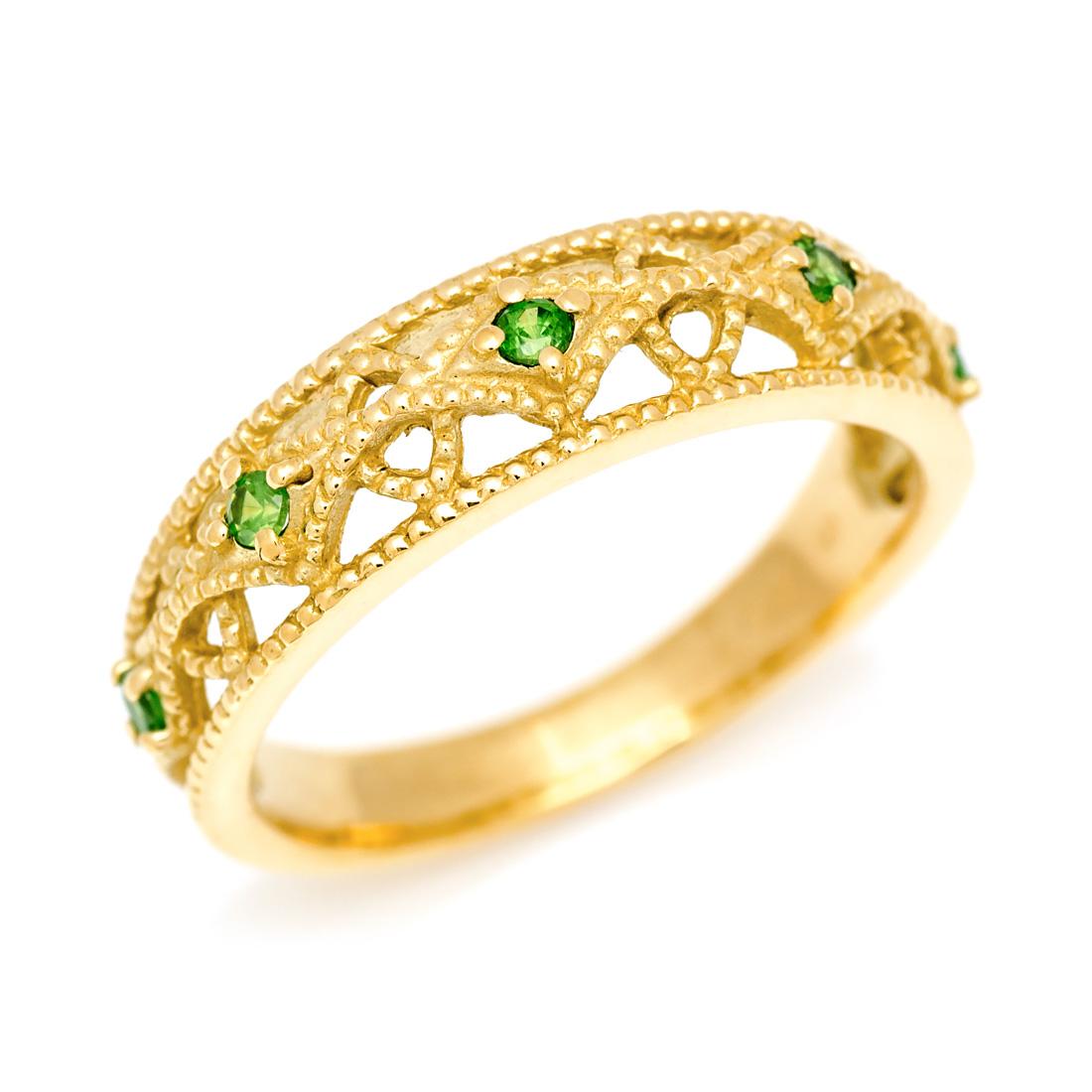 K18 デマントイドガーネット リングcortile指輪 ゴールド 18K 18金 ミル打ち 誕生日 1月誕生石 刻印 文字入れ メッセージ ギフト 贈り物 ピンキーリング対応可能3Aj45RLq