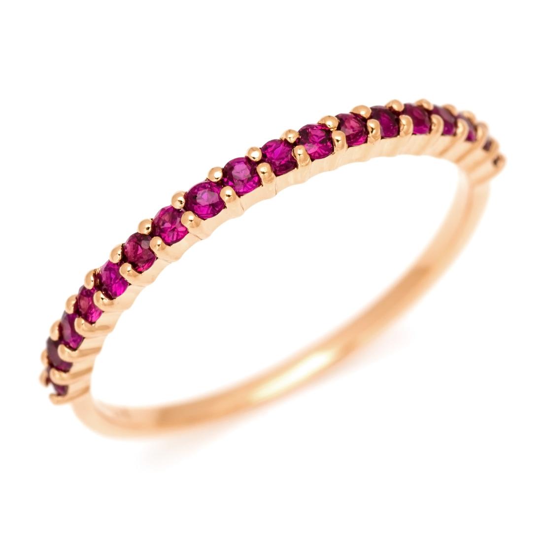 K18 ルビー エタニティ リング 「fila」 指輪 ゴールド 18K 18金 エタニティー 誕生日 7月誕生石 メッセージ ギフト 贈り物 ピンキーリング対応可能