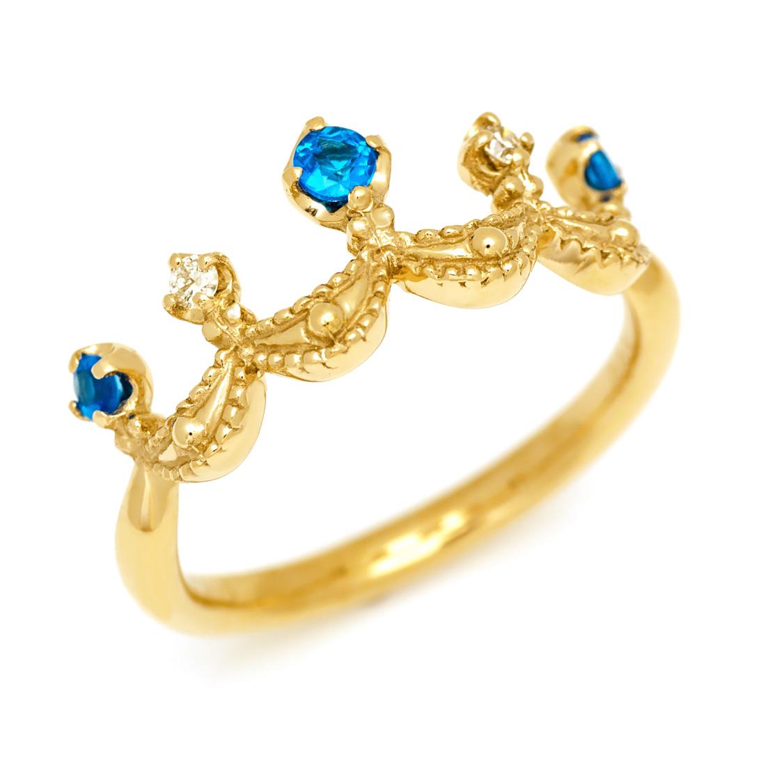 K18 ネオンブルーアパタイト ダイヤモンド リング 「regina」送料無料 指輪 ゴールド 18K 18金 ダイアモンド ティアラ クラウン 王冠 刻印 文字入れ メッセージ ギフト 贈り物 ピンキーリング対応可能