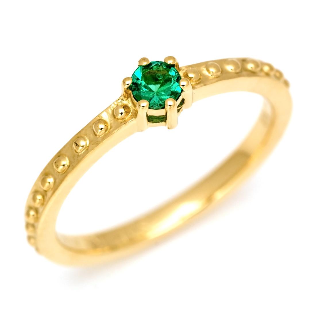 K18 エメラルド リング 「parca」 指輪 ゴールド 18K 18金 クラシック 誕生日 5月誕生石 刻印 文字入れ メッセージ ギフト 贈り物 ピンキーリング対応可能