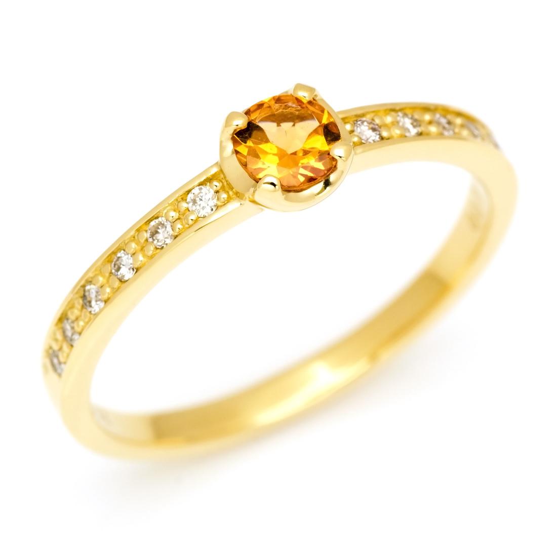 【GWクーポン配布中】リング スペサタイトガーネット ダイヤモンド ゴールド K18 「polarita」 送料無料