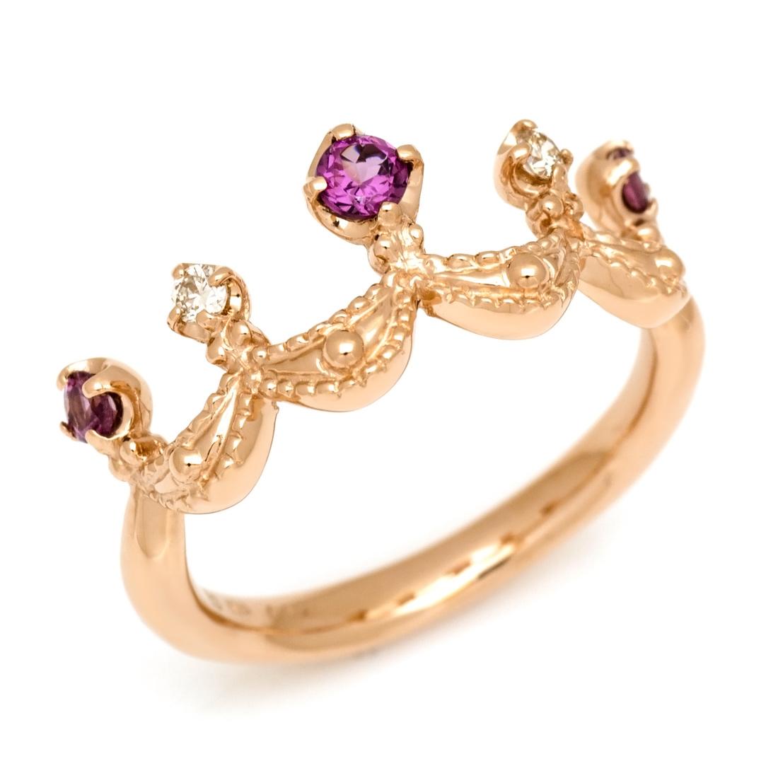 【GWクーポン配布中】K18 ロードライトガーネット ダイヤモンド リング 「regina」送料無料 指輪 ゴールド 18K 18金 ダイアモンド ティアラ クラウン 王冠 誕生日 1月誕生石 刻印 文字入れ メッセージ ギフト 贈り物 ピンキーリング対応可能