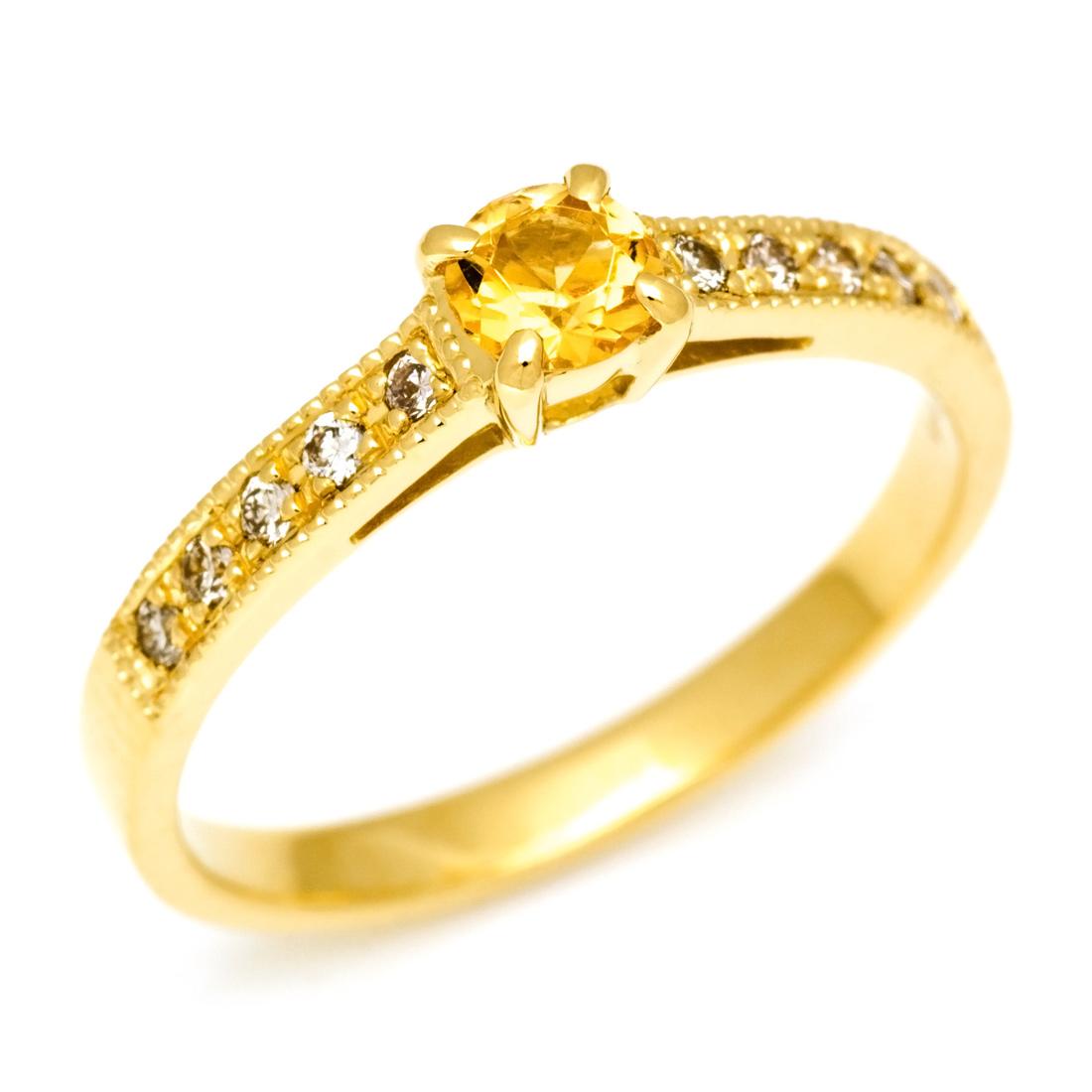 【GWクーポン配布中】K18 インペリアルトパーズ ダイヤモンド リング 「fiorito」送料無料 指輪 ゴールド 18K 18金 誕生日 11月誕生石 ミル打ち 刻印 文字入れ メッセージ ギフト 贈り物 ピンキーリング対応可能