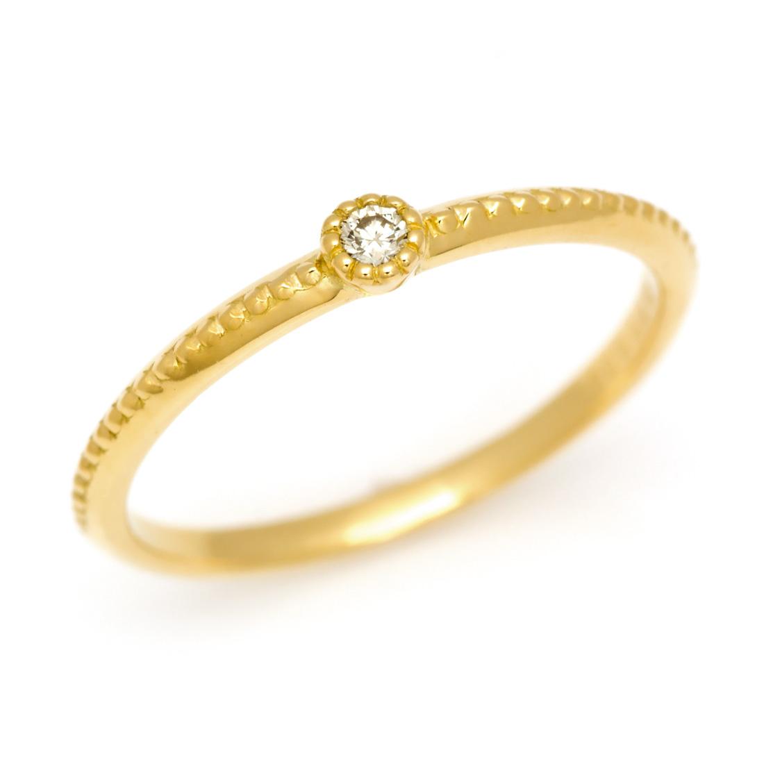 【GWクーポン配布中】K18 ダイヤモンド リング 「semino」指輪 ダイアモンド ダイヤリング ミル打ち 一粒 18K 18金 ゴールド 4月誕生石 ピンキーリング 0号 マイナス5号 ファランジ ミディ 重ね着け レディース