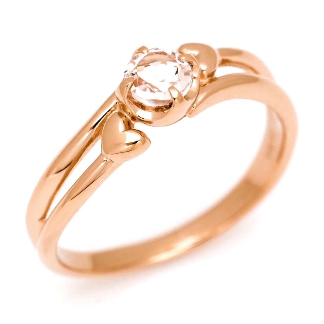 K18 モルガナイト リング 指輪 ゴールド 18K 18金 ハート 刻印 文字入れ メッセージ ギフト 贈り物 ピンキーリング対応可能