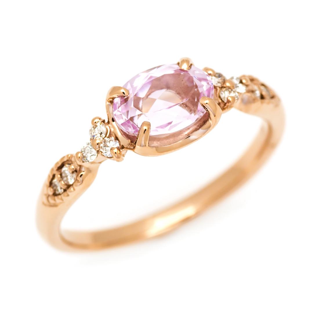 【GWクーポン配布中】リング クンツァイト ダイヤモンド 「amanza」 ゴールド K18 送料無料
