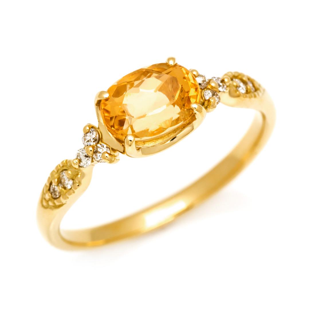 【GWクーポン配布中】K18 インペリアルトパーズ ダイヤモンド リング 「amanza」送料無料 指輪 ダイアモンド ゴールド 18K 18金 誕生日 11月誕生石 刻印 文字入れ メッセージ ギフト 贈り物 ピンキーリング対応可能