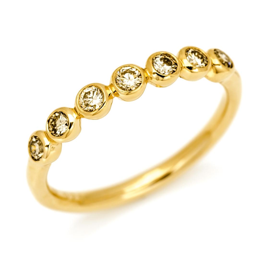 【GWクーポン配布中】K18 ブラウンダイヤモンド リング 「ponte」送料無料 指輪 ダイアモンド ゴールド 18K 18金 誕生日 4月誕生石 刻印 文字入れ メッセージ ギフト 贈り物 ピンキーリング対応可能