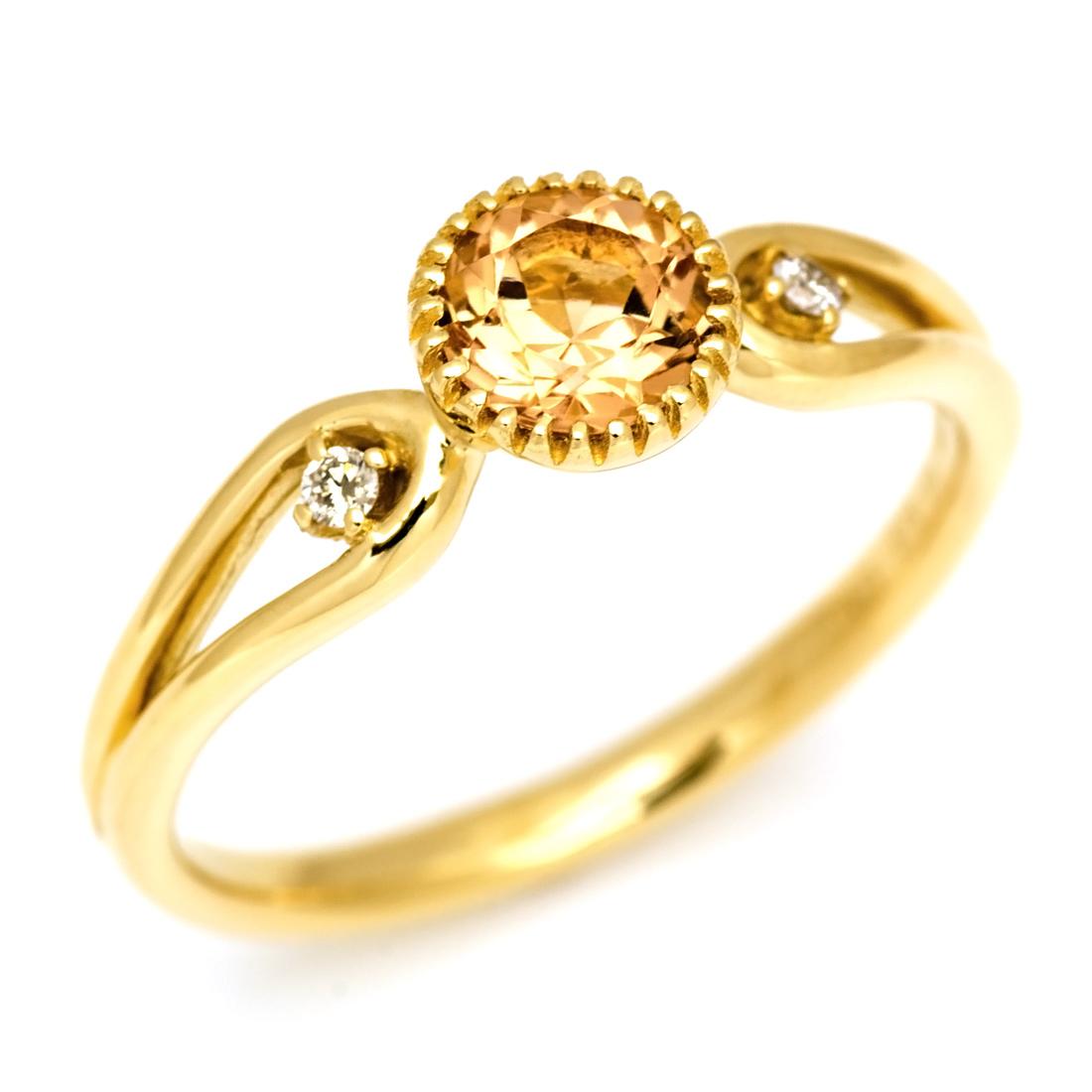 リング インペリアルトパーズ ダイヤモンド ゴールド K18 「amica」