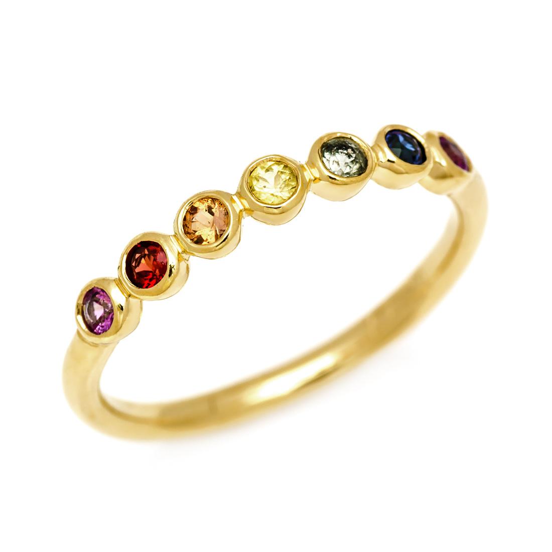 【GWクーポン配布中】K18 マルチカラーサファイア リング 「ponte」送料無料 指輪 サファイヤ ゴールド 18K 18金 誕生日 9月誕生石 刻印 文字入れ メッセージ ギフト 贈り物 ピンキーリング対応可能
