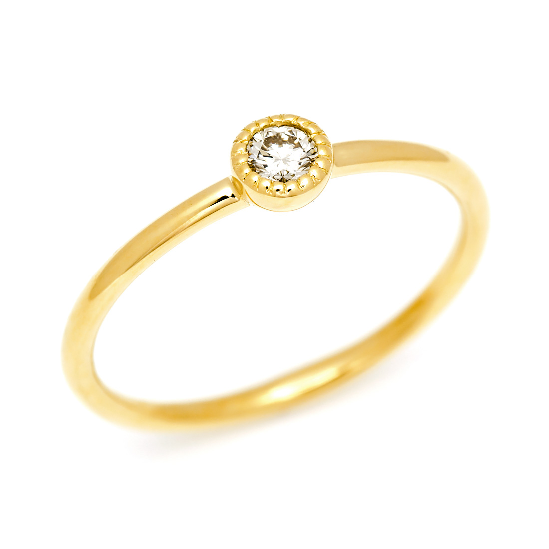 【GWクーポン配布中】K18 ダイヤモンド 0.1ct リング 「pupo」送料無料 指輪 ダイアモンド ゴールド 18K 18金 ミル打ち マット サティーナ 艶消し 誕生日 4月誕生石 刻印 文字入れ メッセージ ギフト 贈り物 ピンキーリング対応可能