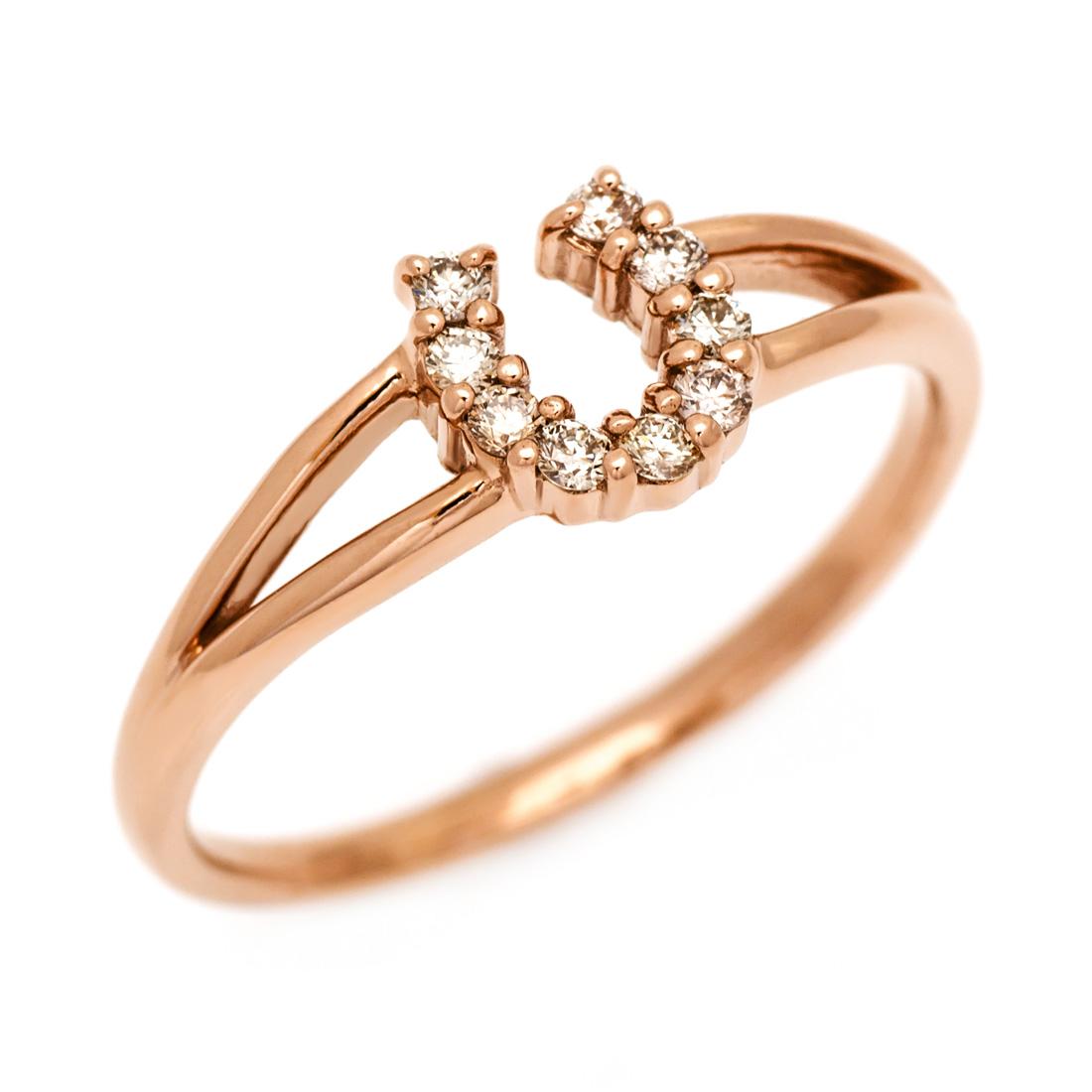 【GWクーポン配布中】K18 ブラウンダイヤモンド リング 「fortuna」送料無料 指輪 ダイアモンド ゴールド 18K 18金 馬蹄 ホースシュー 誕生日 4月誕生石 刻印 文字入れ メッセージ ギフト 贈り物 ピンキーリング対応可能