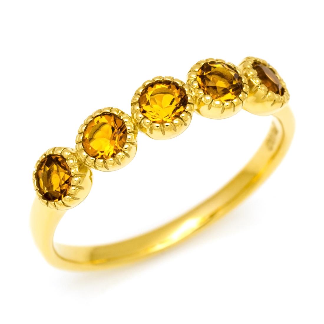 K18 シトリン リング 「fiorente」 指輪 ゴールド 18K 18金 ミル打ち 誕生日 11月誕生石 刻印 文字入れ メッセージ ギフト 贈り物 ピンキーリング対応可能