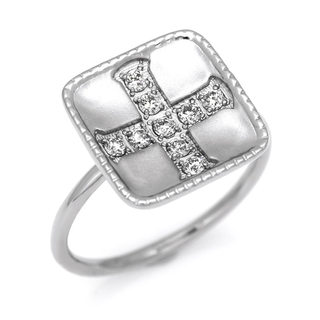 【GWクーポン配布中】K18 ダイヤモンド リング 「greco」送料無料 指輪 ゴールド 18K 18金 ダイアモンド クロス 十字架 誕生日 4月誕生石 刻印 文字入れ メッセージ ギフト 贈り物 ピンキーリング対応可能