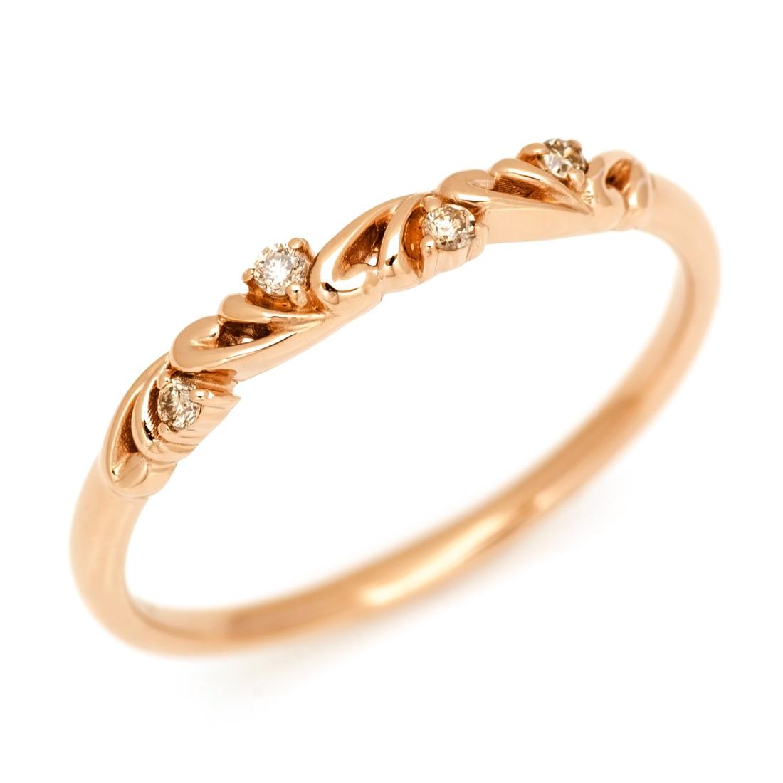 K18 ブラウンダイヤモンド リング 「arabesco」 指輪 ダイアモンド ゴールド 18K 18金 スクロール アラベスク 誕生日 4月誕生石 刻印 文字入れ メッセージ ギフト 贈り物 ピンキーリング対応可能